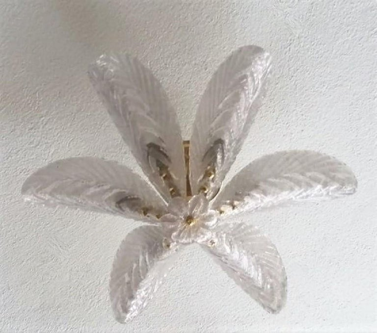 Large Mazzega Murano Glass Palm Leaves Six-Light Ceiling Fixture, Italy, 1960s For Sale 4