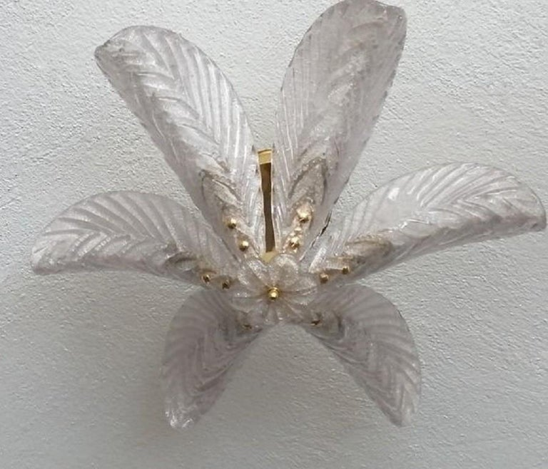 Art Deco Large Mazzega Murano Glass Palm Leaves Six-Light Ceiling Fixture, Italy, 1960s For Sale