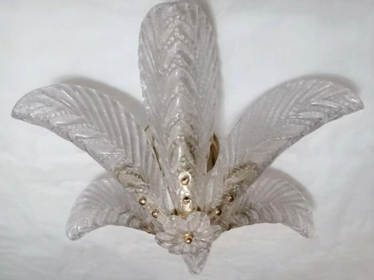 Italian Large Mazzega Murano Glass Palm Leaves Six-Light Ceiling Fixture, Italy, 1960s For Sale