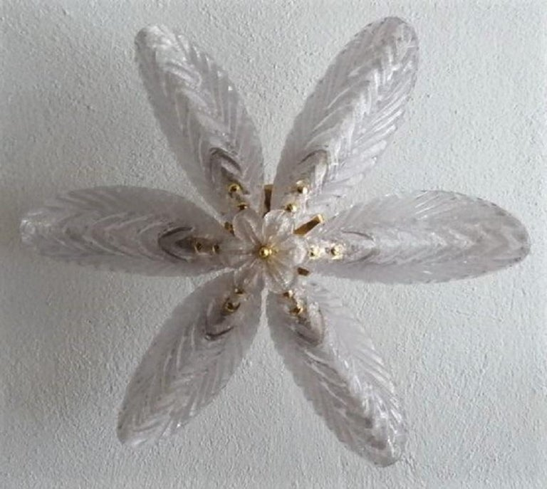 Gilt Large Mazzega Murano Glass Palm Leaves Six-Light Ceiling Fixture, Italy, 1960s For Sale