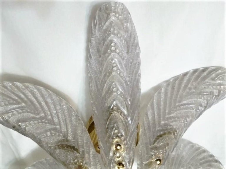 Large Mazzega Murano Glass Palm Leaves Six-Light Ceiling Fixture, Italy, 1960s In Good Condition For Sale In Frankfurt am Main, DE
