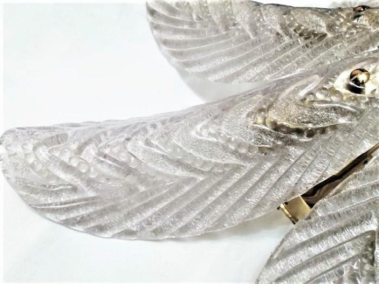 20th Century Large Mazzega Murano Glass Palm Leaves Six-Light Ceiling Fixture, Italy, 1960s For Sale