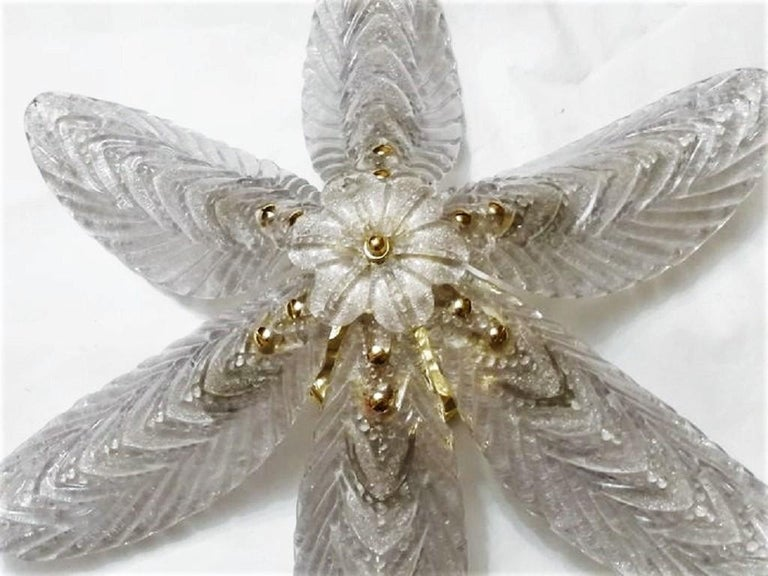 Large Mazzega Murano Glass Palm Leaves Six-Light Ceiling Fixture, Italy, 1960s For Sale 1