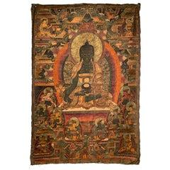 Large Medicine Buddha Thangka, Dharamshala School, India, Mid-20th Century