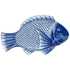 Large Meiji Imari Blue and White Fish Plate, by Fukagawa VII