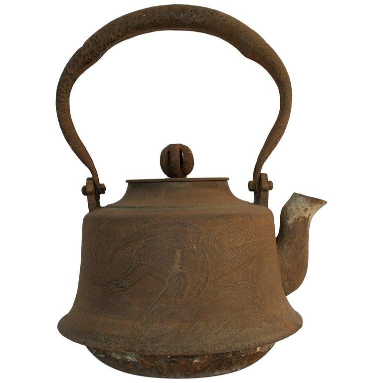 Large Meiji Period Iron Tea Pot, Japan For Sale