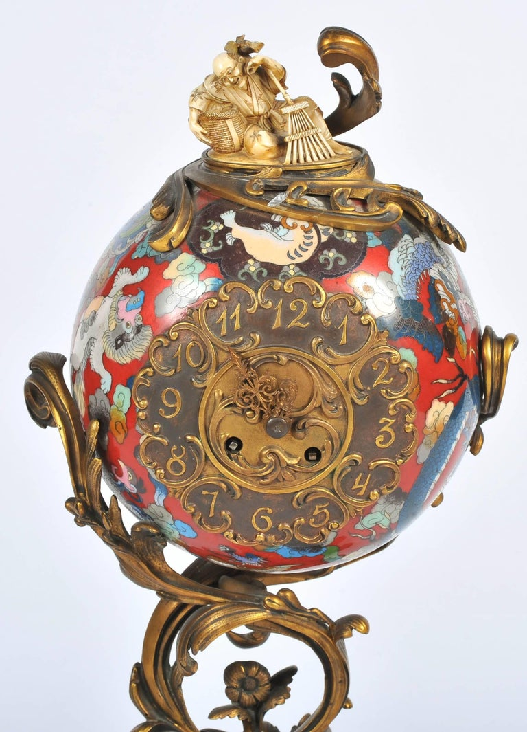 Japanese Large Meiji Period, Miyao Bronze and Enamel Warrior Holding a Clock For Sale