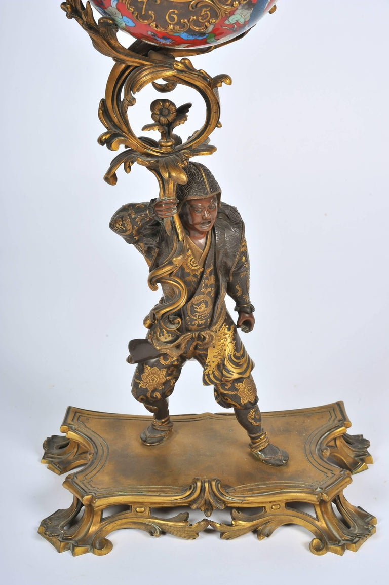 Patinated Large Meiji Period, Miyao Bronze and Enamel Warrior Holding a Clock For Sale