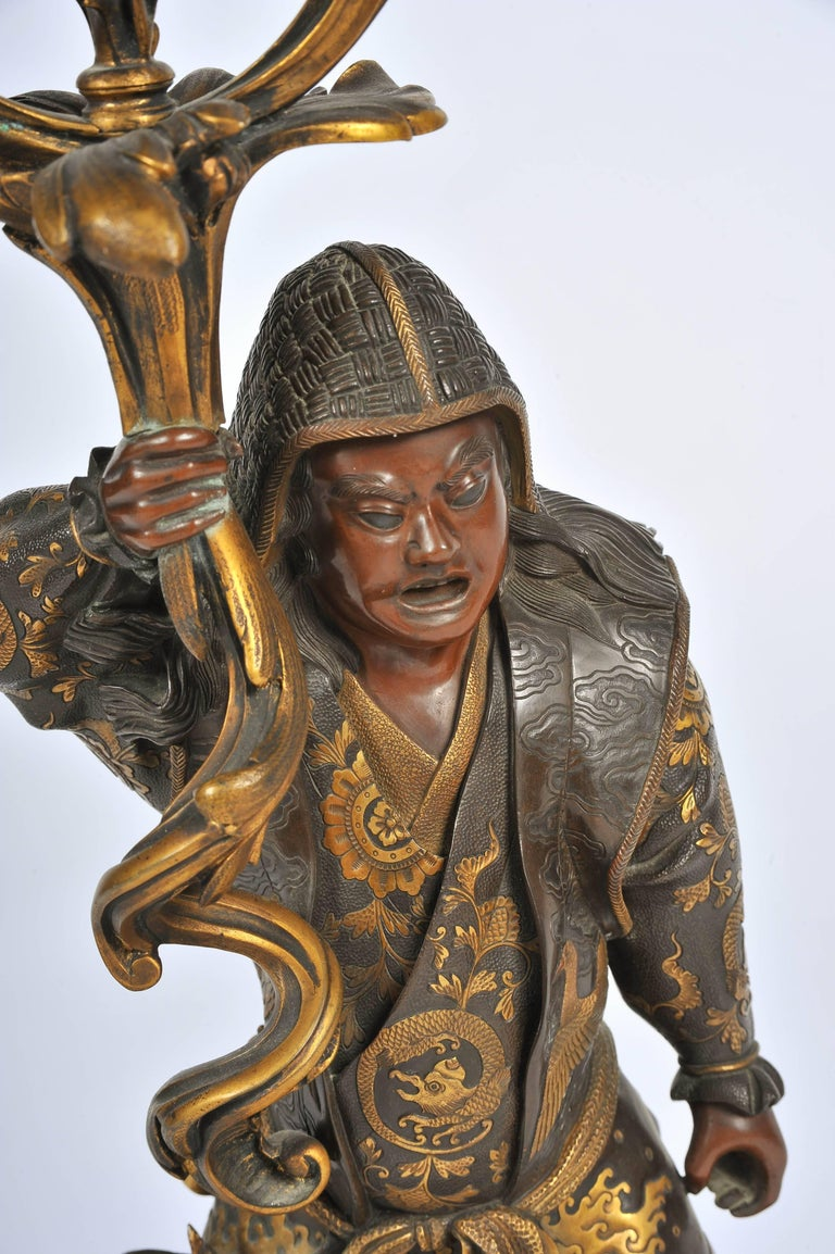 19th Century Large Meiji Period, Miyao Bronze and Enamel Warrior Holding a Clock For Sale
