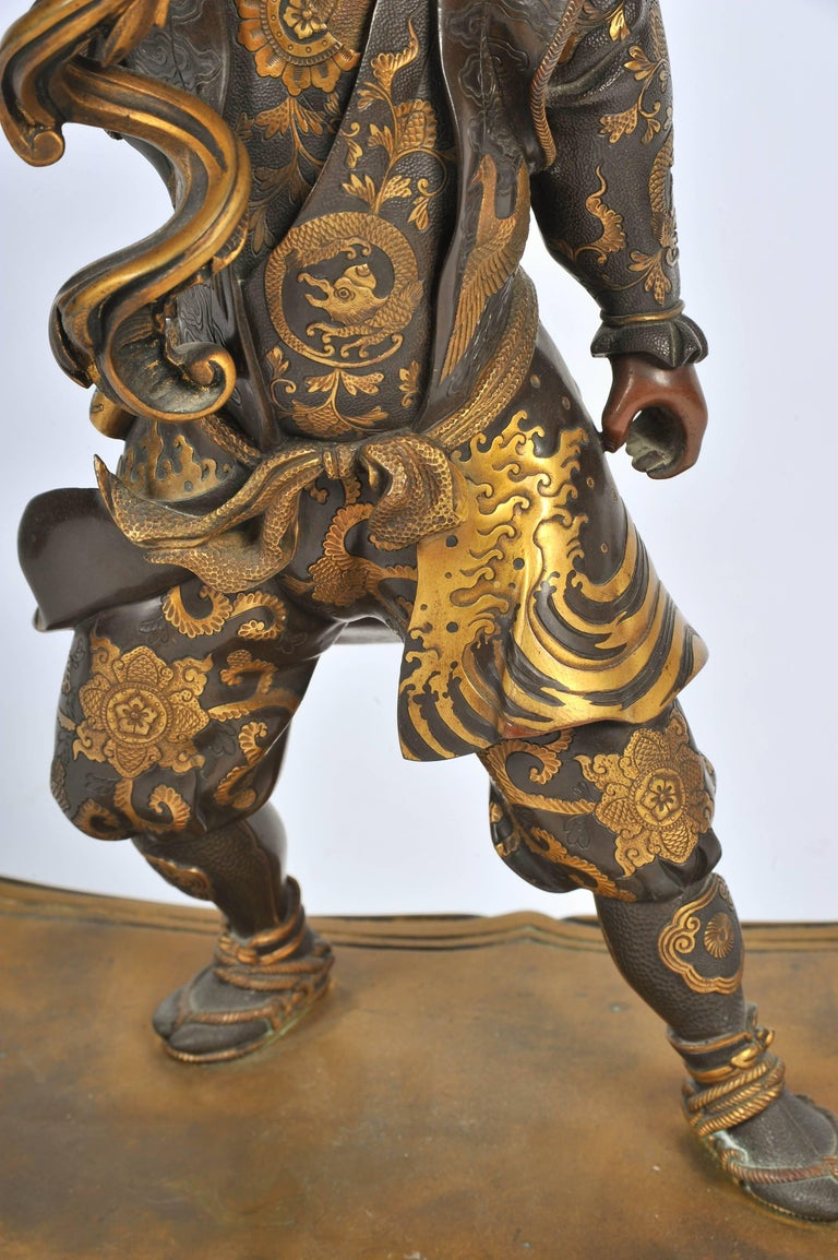 Large Meiji Period, Miyao Bronze and Enamel Warrior Holding a Clock For Sale 1