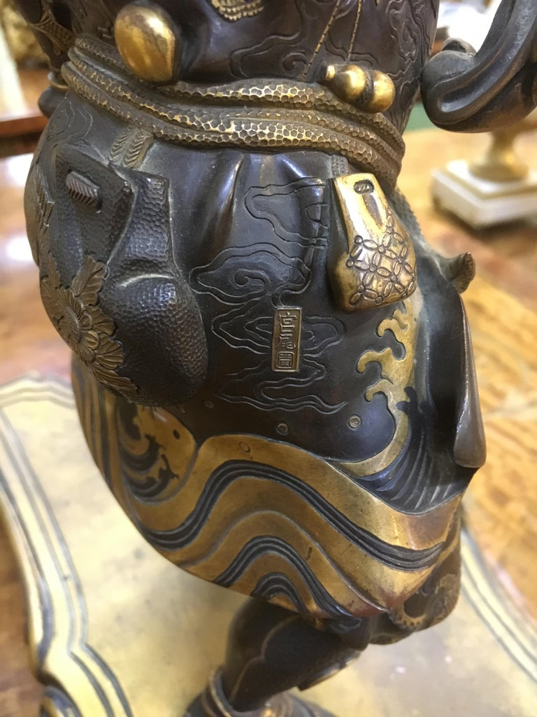 Large Meiji Period, Miyao Bronze and Enamel Warrior Holding a Clock For Sale 2