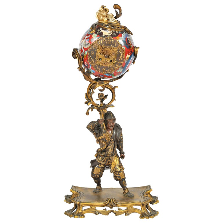 Large Meiji Period, Miyao Bronze and Enamel Warrior Holding a Clock For Sale