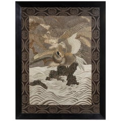 Large Meiji Period Silk Embroidery of a Sea Eagle