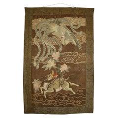 Large Meiji Period Silk Embroidery Tapestry, Kirin & Phoenix, Japan, circa 1890