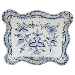 Large Meissen Blue Onion Scalloped Edge Platter