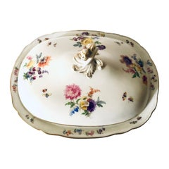 Large Meissen Covered Serving Bowl with Four Painted Bouquets of Flowers