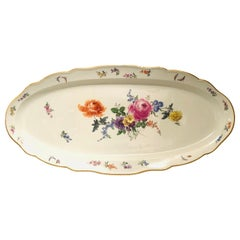 Large Meissen Fish Platter Painted with a Summer Flower Bouquet and Butterflies