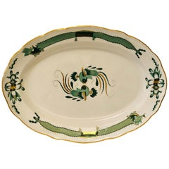 Large Meissen Green Court Dragon Platter Painted with Dragons and Phoenix Birds