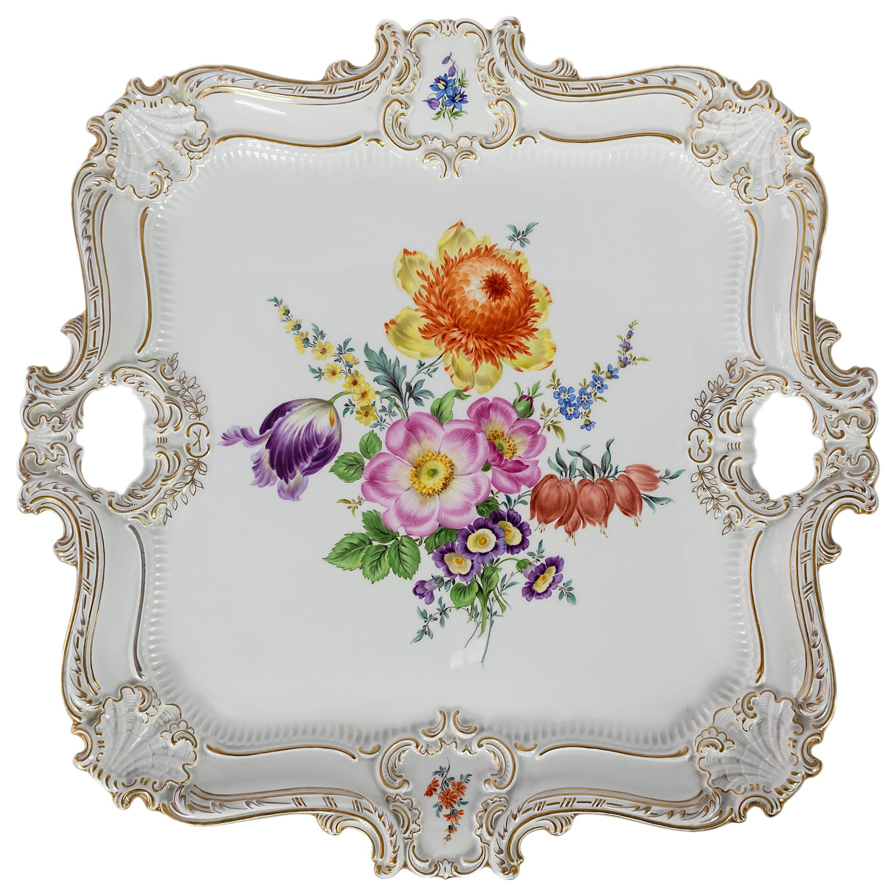 Large Meissen Hand Painted Gilded Porcelain Serving Plate/Tray