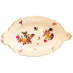 Large Meissen Platter with Botanical Paintings, Fluted Border and Curved Edges