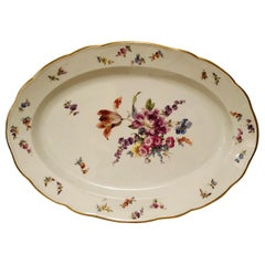 Large Meissen Platter with Fabulous Painting of a Bouquet of Flowers and Insects