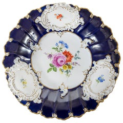 Large Meissen Porcelain Hand Painted and Gilded Cobalt Blue Plate