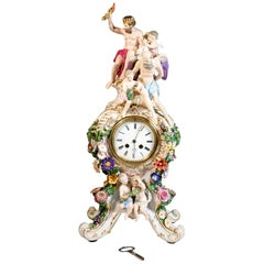 Large Meissen Splendour Clock with Jupiter Group by E.A. Leuteritz, circa 1860