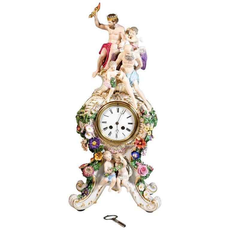 Large Meissen Splendour Clock with Jupiter Group by E.A. Leuteritz, circa 1860 For Sale