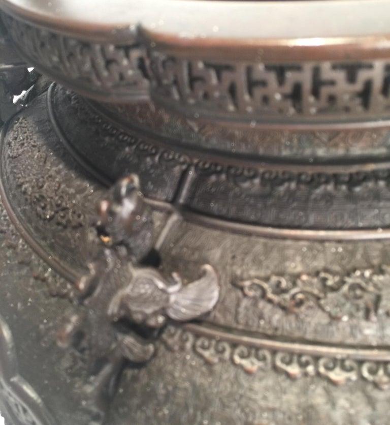 Large Meji Period Japanese Bronze Cencer, 1880s For Sale 6