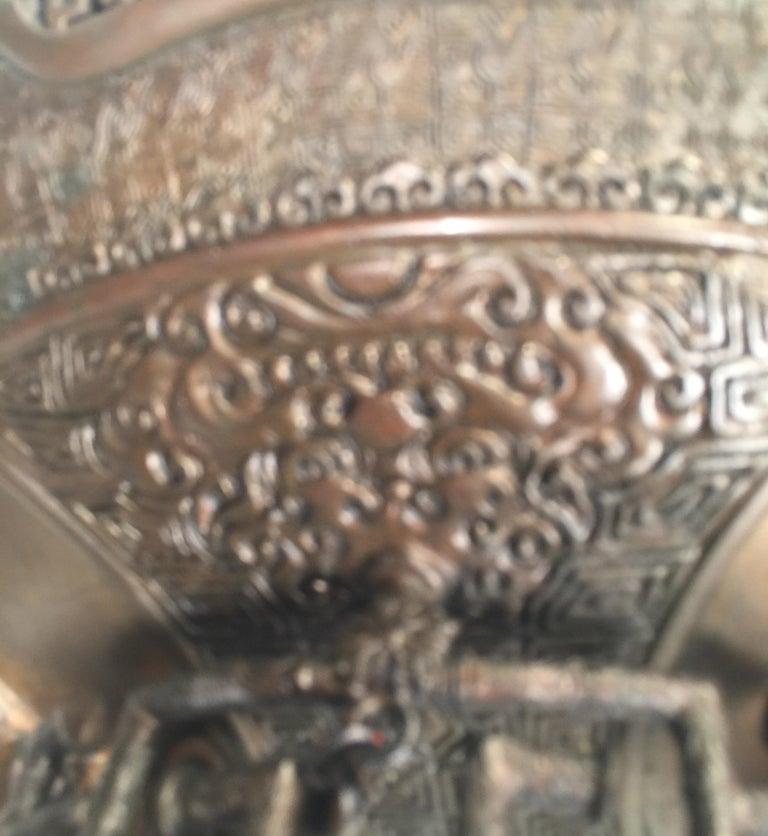 Large Meji Period Japanese Bronze Cencer, 1880s For Sale 11