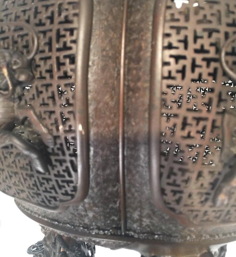 Large Meji Period Japanese Bronze Cencer, 1880s For Sale 12