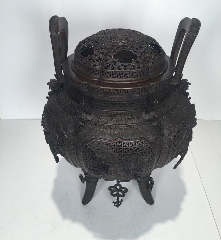 Meiji Large Meji Period Japanese Bronze Cencer, 1880s For Sale