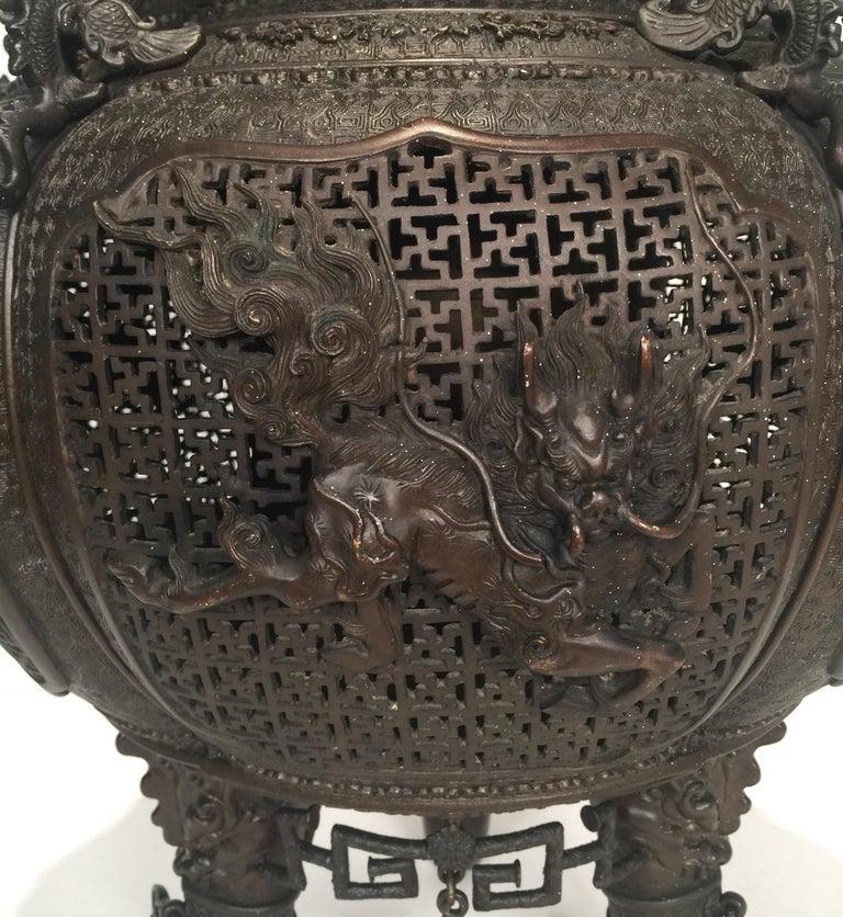 Large Meji Period Japanese Bronze Cencer, 1880s For Sale 1