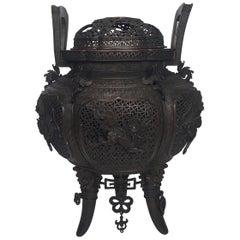 Large Meji Period Japanese Bronze Cencer, 1880s