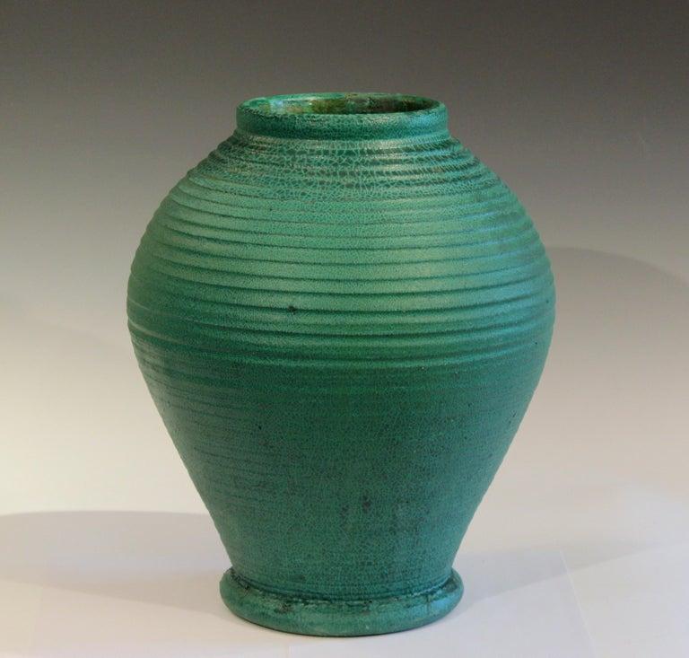 Huge antique Merrimac Pottery Arts & Crafts vase with fantastic alligatored matte green glaze. Merrimac Pottery operated in Newburyport, Ma. from 1897-1908. 15