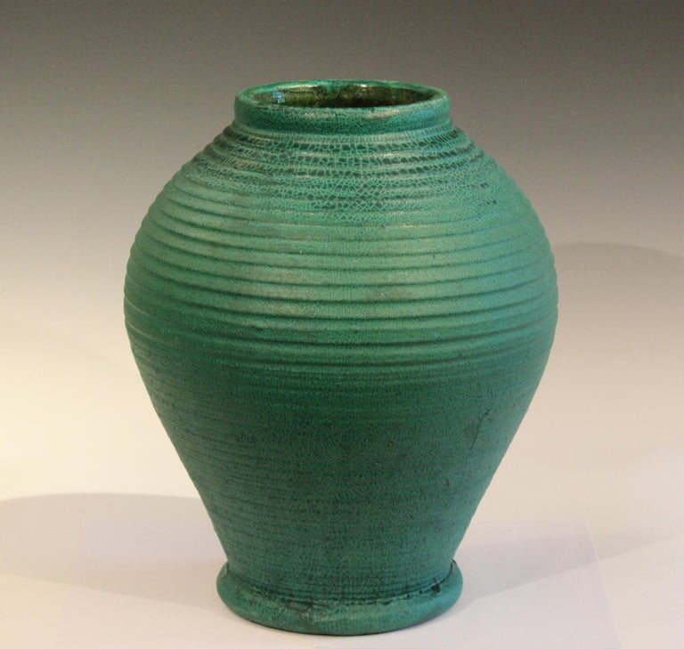 Arts and Crafts Large Merrimac Pottery Vase Antique Matt Green American Arts & Crafts For Sale