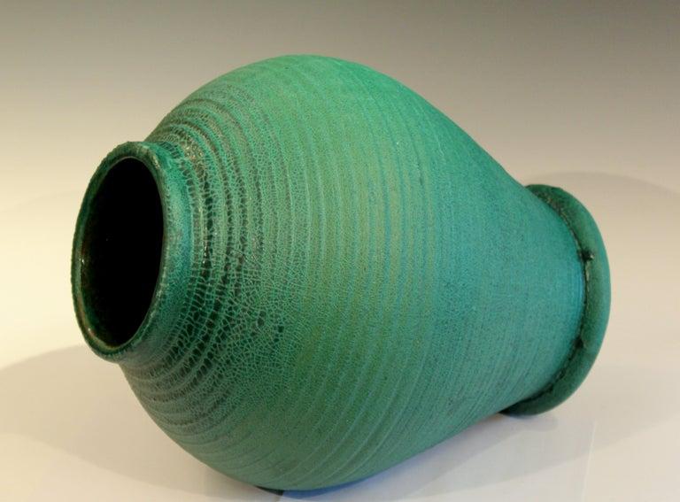 Turned Large Merrimac Pottery Vase Antique Matt Green American Arts & Crafts For Sale