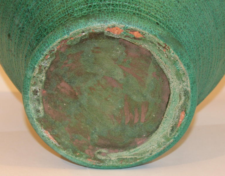 Early 20th Century Large Merrimac Pottery Vase Antique Matt Green American Arts & Crafts For Sale