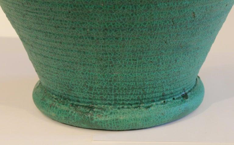 Large Merrimac Pottery Vase Antique Matt Green American Arts & Crafts For Sale 1