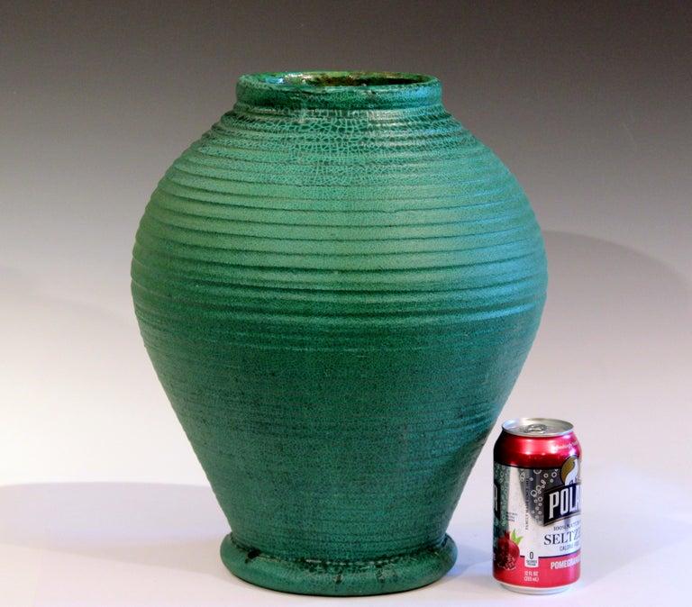 Large Merrimac Pottery Vase Antique Matt Green American Arts & Crafts For Sale 3