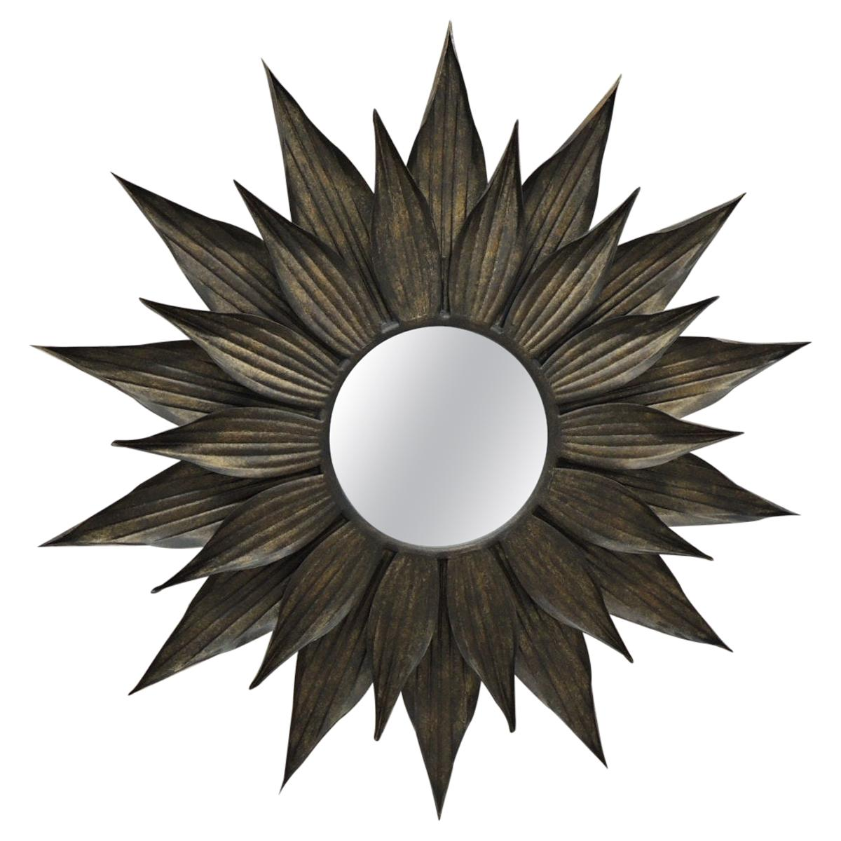 Large Metal Faded Gold Leaf Sunburst Wall Mirror