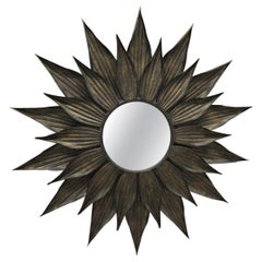 Large Metal Faded Gold Leaf Sunburst Wall Mirror