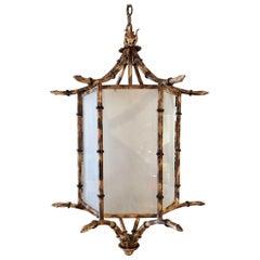 Large Metal Faux Bamboo Lantern