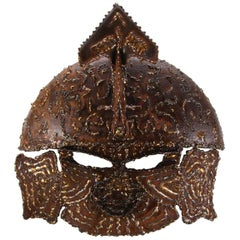 Large Metal Mask 1970s, Gorgeous Brutalist Warrior Mask, Decorative Wall Piece