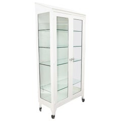 Large Metal Mid-Century Modern Medical Cabinet with Adjustable Glass Shelves