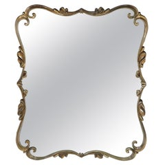 Large Cast Metal Silver Gilt Scroll Frame Mirror