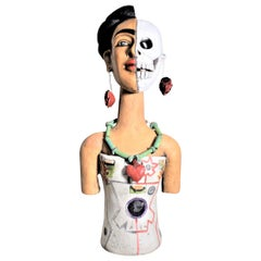 Large Mexican Folk Art Pottery Sculpture of a Female Depicting Life & Death