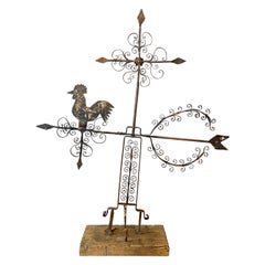 Large Mexican Folk Art Wrought Iron Rooster Weathervane, c. 1940