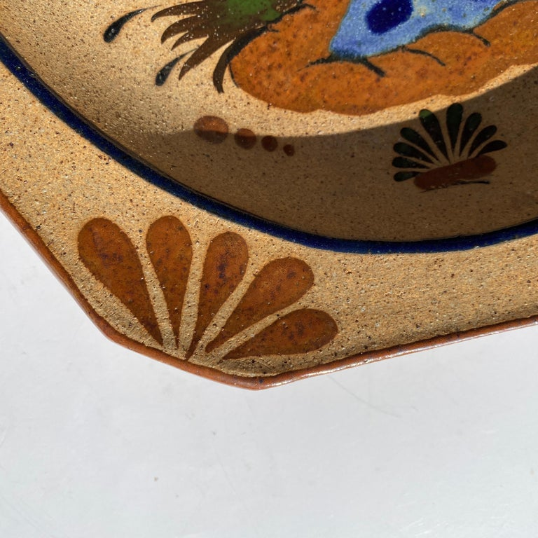 Folk Art Large Mexican Round Folk Pottery Platter with Heron Bird Design Tonalá Mestizo For Sale