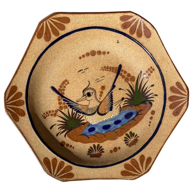 Large Mexican Round Folk Pottery Platter with Heron Bird Design Tonalá Mestizo For Sale